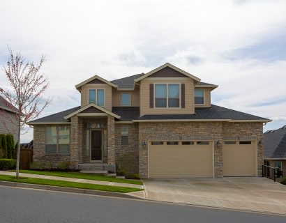 Custom home with cultured stone exterior